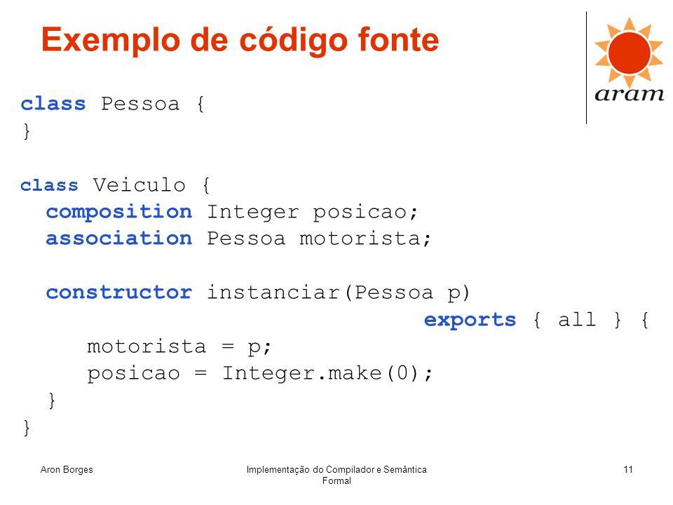 Aron BorgesImplementação do Compilador e Semântica Formal 11 Exemplo de código fonte class Pessoa { } class Veiculo { composition Integer posicao; ass