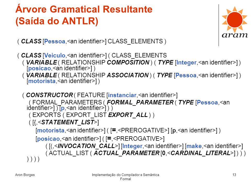 Aron BorgesImplementação do Compilador e Semântica Formal 13 Árvore Gramatical Resultante (Saída do ANTLR) ( CLASS [Pessoa, ] CLASS_ELEMENTS ) ( CLASS