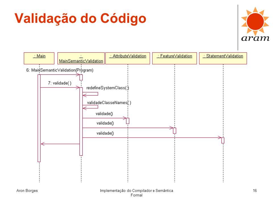 Aron BorgesImplementação do Compilador e Semântica Formal 16 Validação do Código