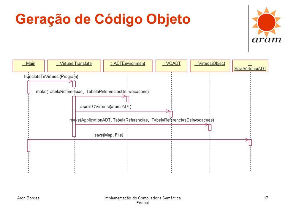 Aron BorgesImplementação do Compilador e Semântica Formal 17 Geração de Código Objeto