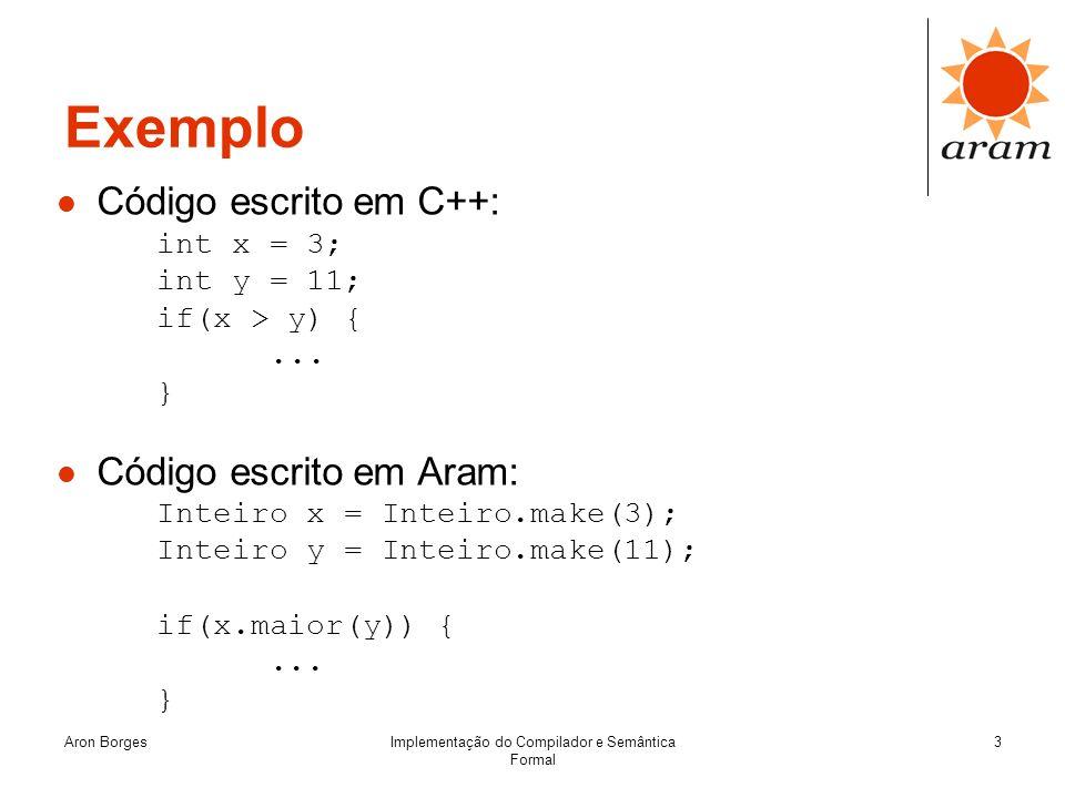 Aron BorgesImplementação do Compilador e Semântica Formal 3 Exemplo Código escrito em C++: int x = 3; int y = 11; if(x > y) {... } Código escrito em A