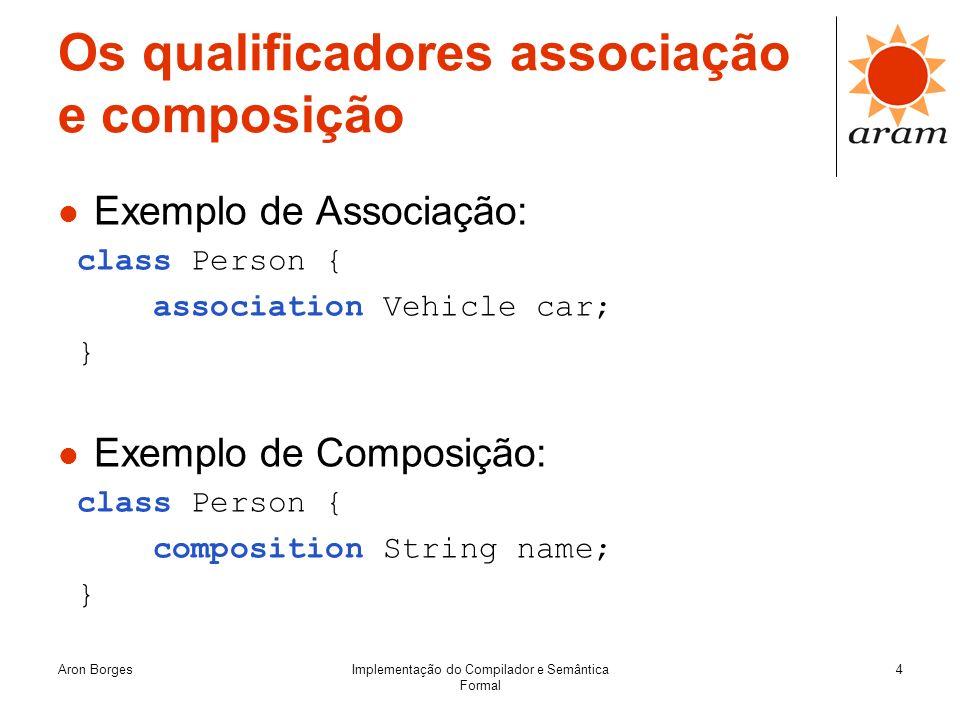 Aron BorgesImplementação do Compilador e Semântica Formal 4 Os qualificadores associação e composição Exemplo de Associação: class Person { associatio