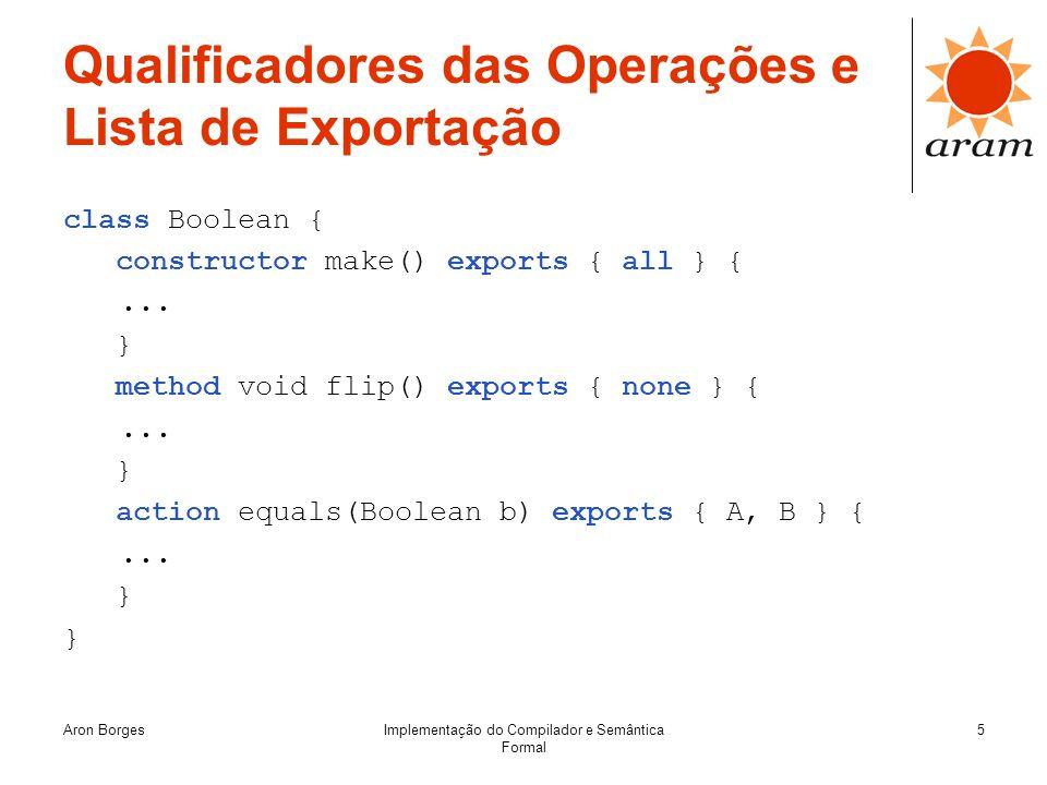 Aron BorgesImplementação do Compilador e Semântica Formal 5 Qualificadores das Operações e Lista de Exportação class Boolean { constructor make() expo