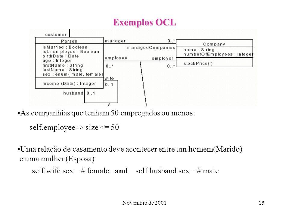 Novembro de 200115 Exemplos OCL As companhias que tenham 50 empregados ou menos: self.employee -> size <= 50 Uma relação de casamento deve acontecer e