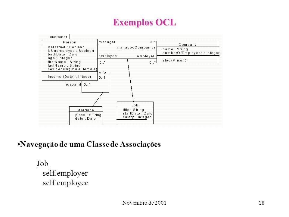 Novembro de 200118 Exemplos OCL Navegação de uma Classe de Associações Job self.employer self.employee
