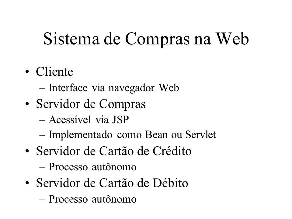 Sistema de Compras na Web Cliente –Interface via navegador Web Servidor de Compras –Acessível via JSP –Implementado como Bean ou Servlet Servidor de C