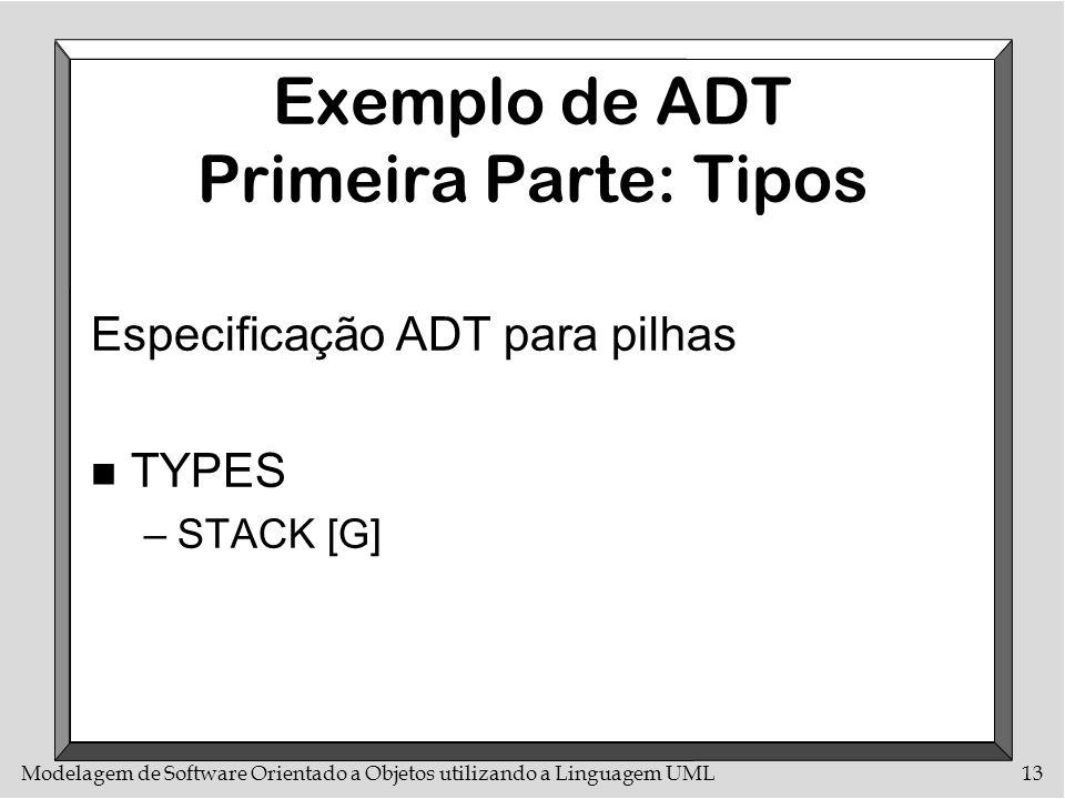 Modelagem de Software Orientado a Objetos utilizando a Linguagem UML13 Exemplo de ADT Primeira Parte: Tipos Especificação ADT para pilhas n TYPES –STA