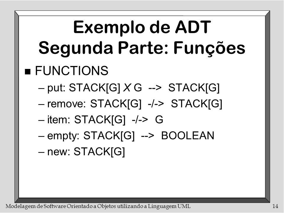 Modelagem de Software Orientado a Objetos utilizando a Linguagem UML14 Exemplo de ADT Segunda Parte: Funções n FUNCTIONS –put: STACK[G] X G --> STACK[