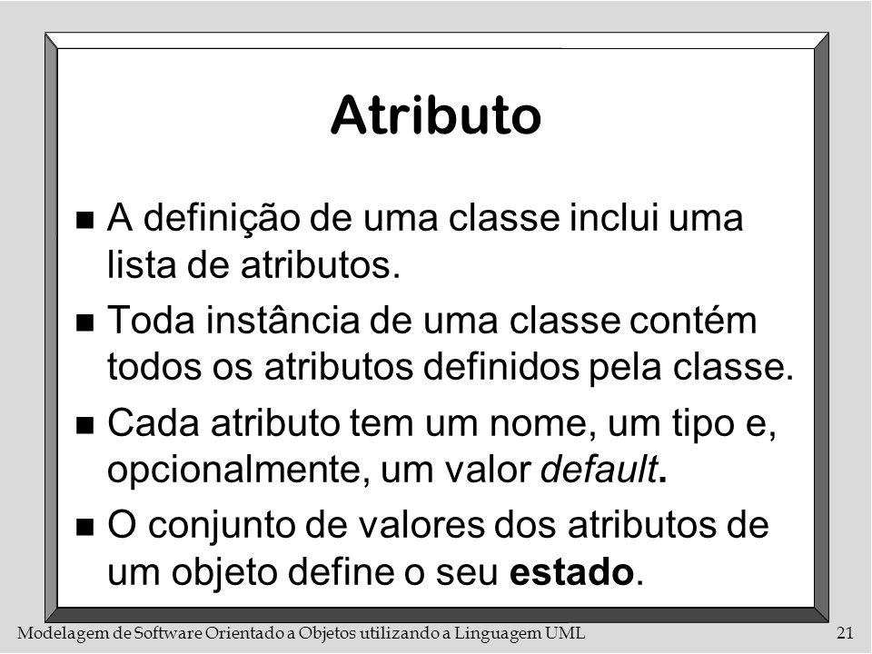 Modelagem de Software Orientado a Objetos utilizando a Linguagem UML21 Atributo n A definição de uma classe inclui uma lista de atributos. n Toda inst