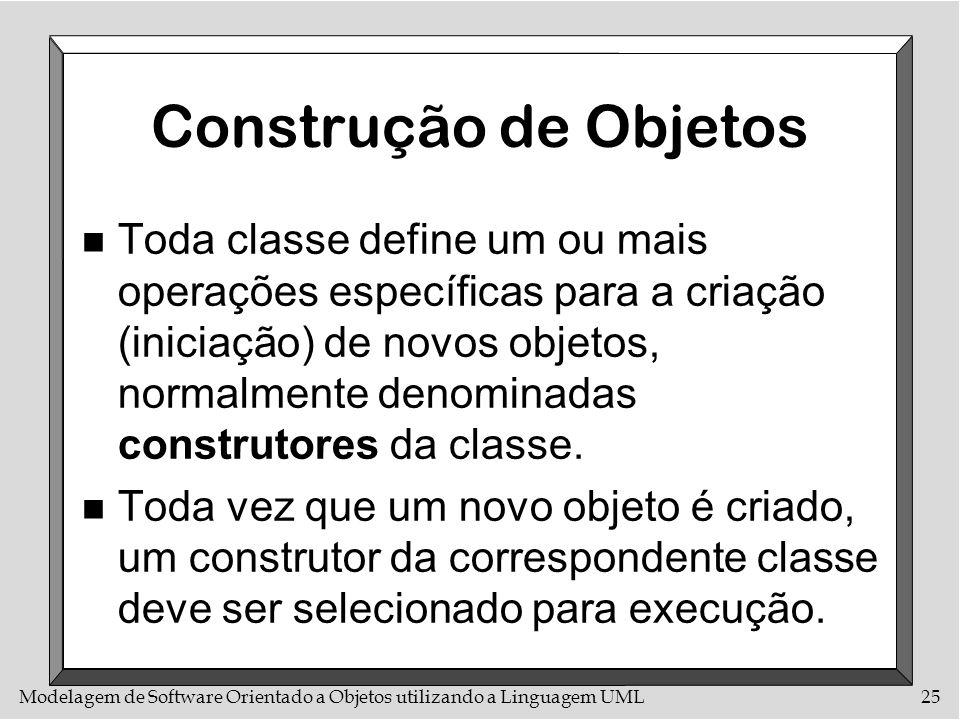 Modelagem de Software Orientado a Objetos utilizando a Linguagem UML25 Construção de Objetos n Toda classe define um ou mais operações específicas par