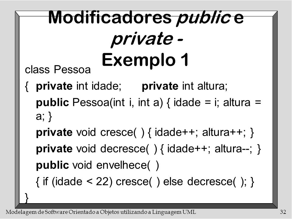 Modelagem de Software Orientado a Objetos utilizando a Linguagem UML32 Modificadores public e private - Exemplo 1 class Pessoa {private int idade;priv
