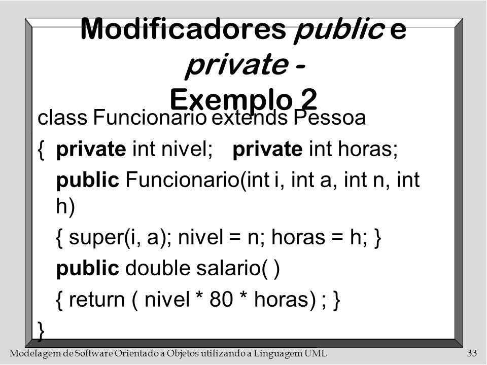 Modelagem de Software Orientado a Objetos utilizando a Linguagem UML33 Modificadores public e private - Exemplo 2 class Funcionario extends Pessoa {pr