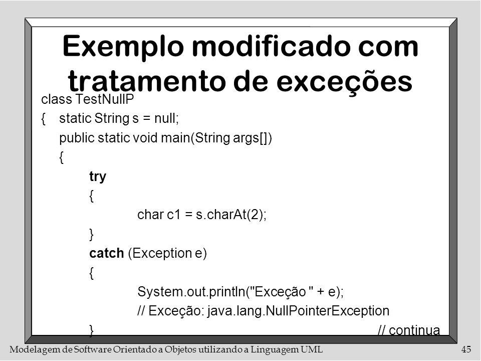 Modelagem de Software Orientado a Objetos utilizando a Linguagem UML45 Exemplo modificado com tratamento de exceções class TestNullP {static String s