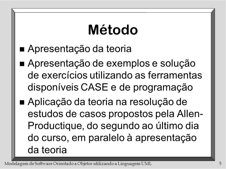 Modelagem de Software Orientado a Objetos utilizando a Linguagem UML5 Método n Apresentação da teoria n Apresentação de exemplos e solução de exercíci