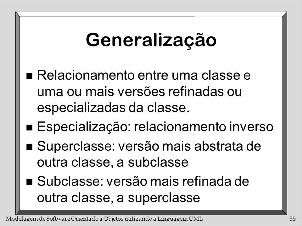 Modelagem de Software Orientado a Objetos utilizando a Linguagem UML55 Generalização n Relacionamento entre uma classe e uma ou mais versões refinadas