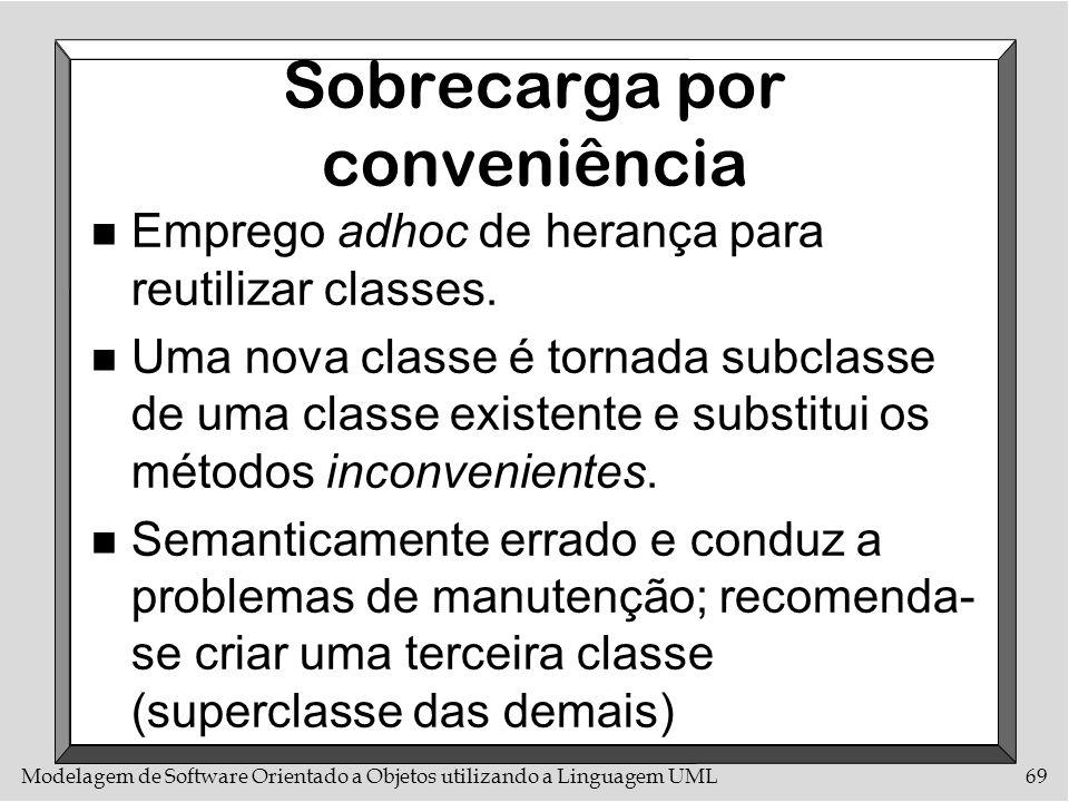 Modelagem de Software Orientado a Objetos utilizando a Linguagem UML69 Sobrecarga por conveniência n Emprego adhoc de herança para reutilizar classes.