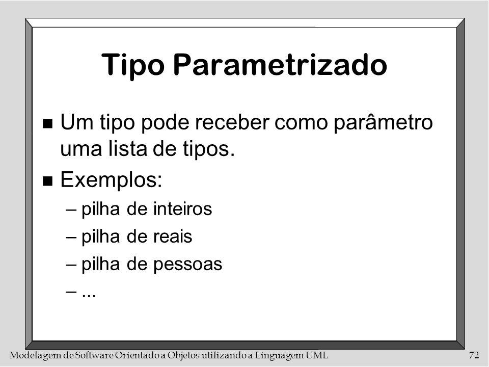 Modelagem de Software Orientado a Objetos utilizando a Linguagem UML72 Tipo Parametrizado n Um tipo pode receber como parâmetro uma lista de tipos. n