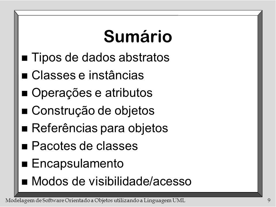 Modelagem de Software Orientado a Objetos utilizando a Linguagem UML9 Sumário n Tipos de dados abstratos n Classes e instâncias n Operações e atributo