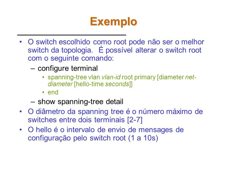 Exemplo Verifique a configuração atual do SPT –show spanning-tree summary –show spanning-tree detail –show spanning-tree active –show spanning-tree in