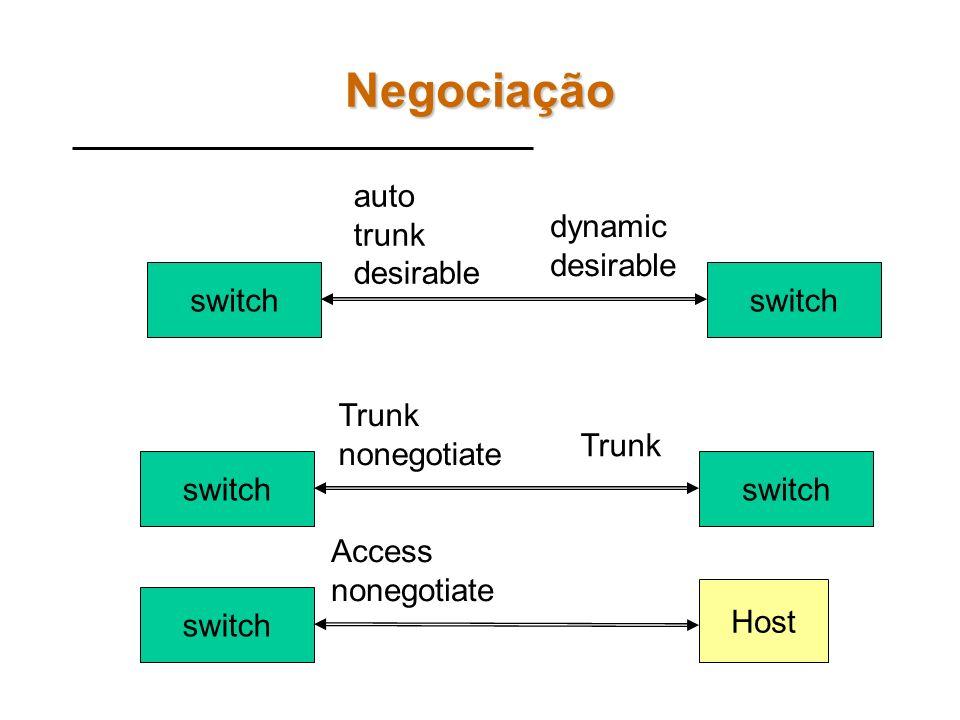 Portas VLANS em Switches CISCO A Cisco define 6 modos de operação de portas para VLAN: switchport mode access Força a porta a operar em modo acesso sw