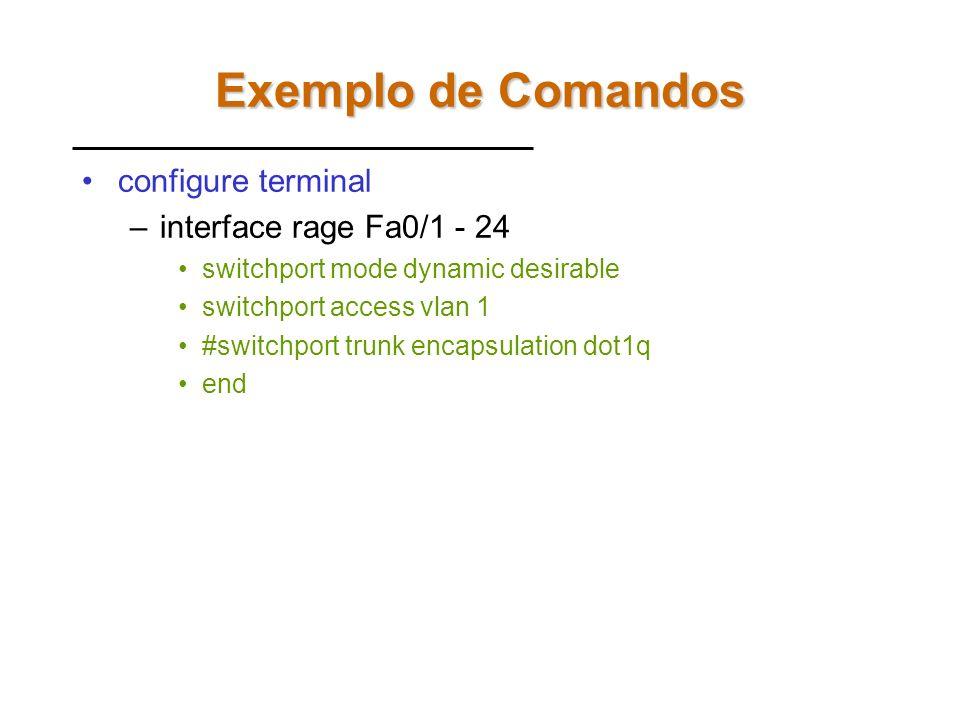 Configuração Default switchport mode dynamic auto –Negocia se a porta será trunk ou não com o vizinho switchport trunk encapsulation negotiate –Negoci