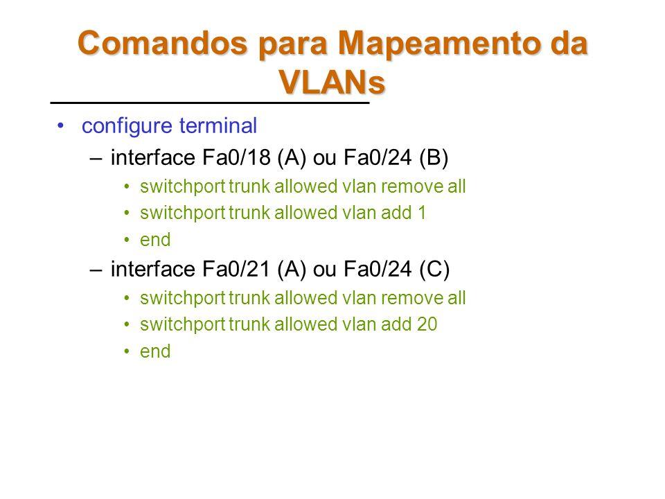 Portas Trunk Verifique a configuração atual dos switches –show interfaces trunk –show spanning-tree blocked ports