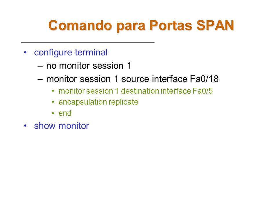 Portas SPAN A fim de verificar para qual porta trunk o tráfego das VLANs está sendo encaminhado é necessário utilizar portas SPAN. As portas SPAN faze
