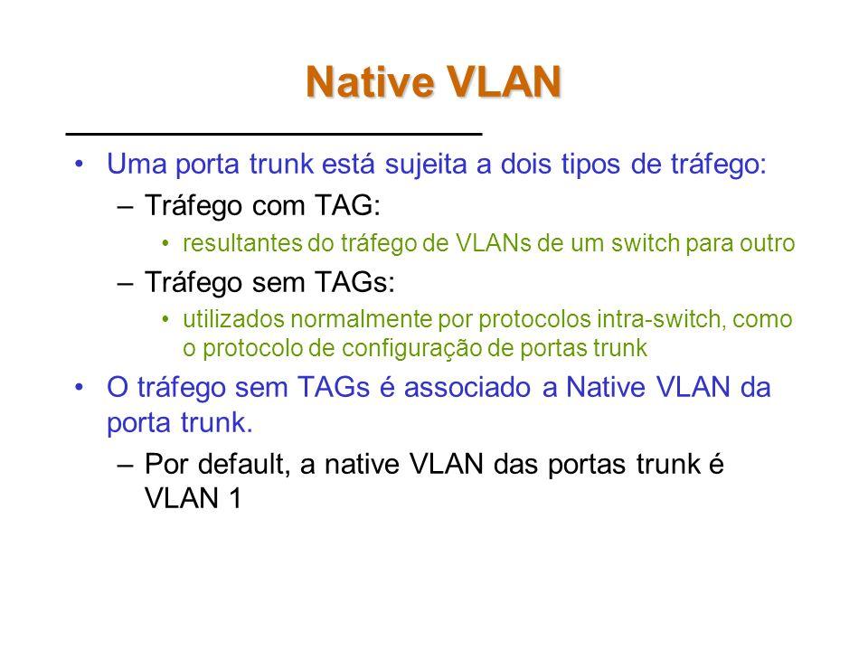 Exercício 3 Configure as portas SPANs nos switches para verificar o fluxo do tráfego trunk: 2950-2 e 2950-3 –Fa0/23: cópia da Fa0/1 –Fa0/24: cópia da