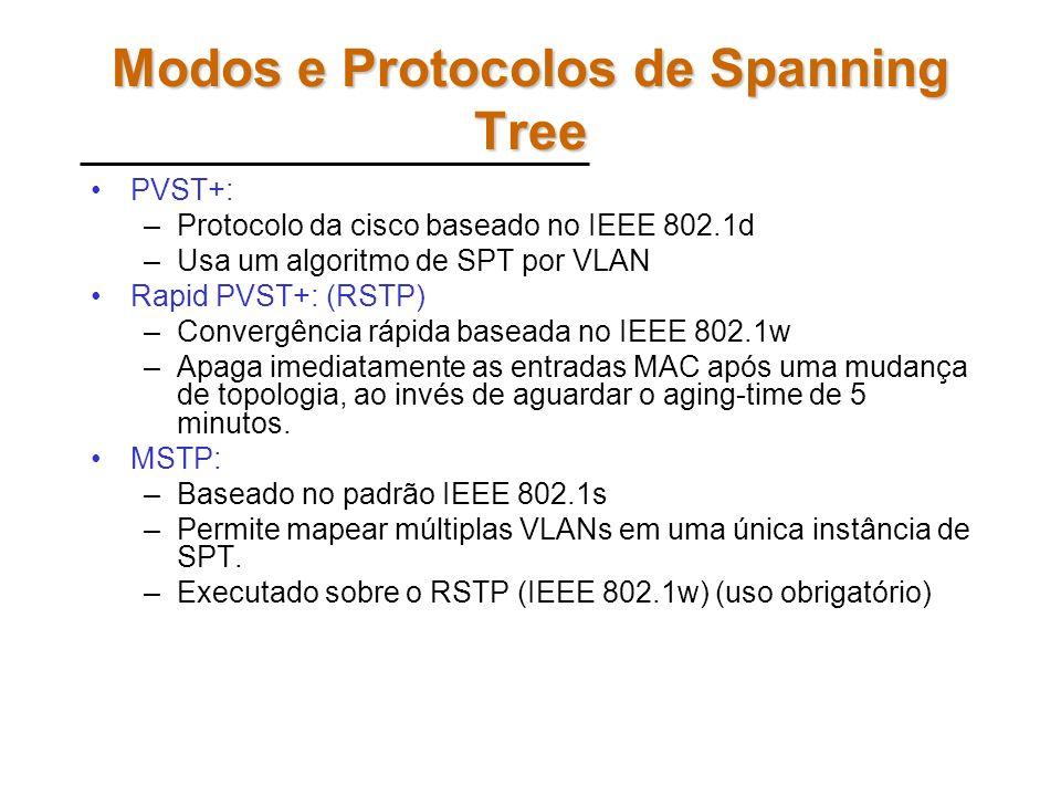 Comandos Exemplo: –configure terminal interface Fa0/18 (A) ou Fa0/24 (B) –spanning-tree vlan 20 cost 30 –end –configure terminal interface Fa0/21 ou F