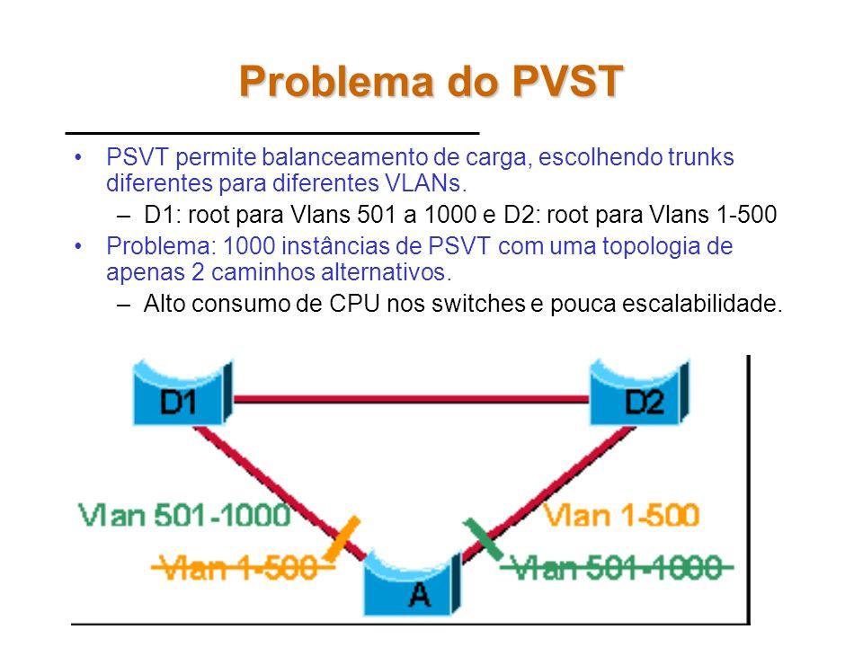 MSTP – Multiple Spanning-Tree Protocol MSTP: IEEE 802.1s –Melhora a tolerância a falhas –Múltiplos forwarding paths –Permite balanceamento de carga –M