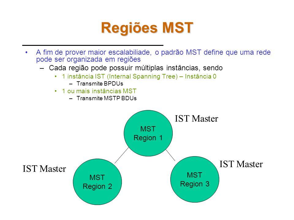 Padrão IEEE 802.1s (MST) Permite agrupar VLANs em instâncias de SPT. –Intancia 1: VLANs 1 a 500 –Instancia 2: VLANs 501 a 1000 –Cada instância pode te