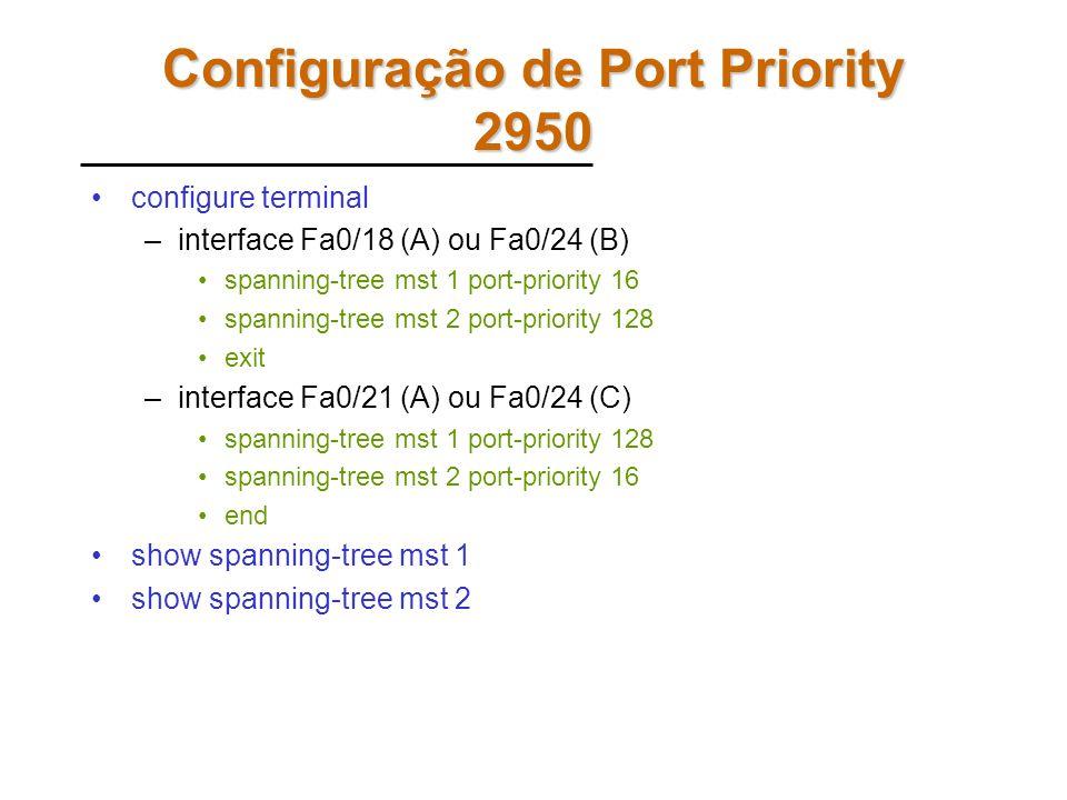 Comandos – Todos os Switches configure terminal –spanning-tree mst configuration instance 1 vlan 1 Instance 1 vlan 10 instance 2 vlan 2 Instance 2 vla