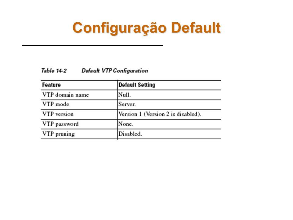 Entidades VTP VTP Server –Recebe novas configurações e repassa para os demais switches do domíno VTP Client –Apenas recebe configurações do server. Nã