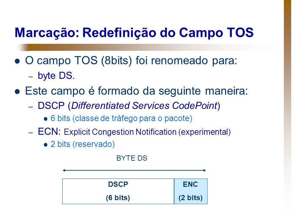Marcação: Redefinição do Campo TOS O campo TOS (8bits) foi renomeado para: – byte DS. Este campo é formado da seguinte maneira: – DSCP (Differentiated