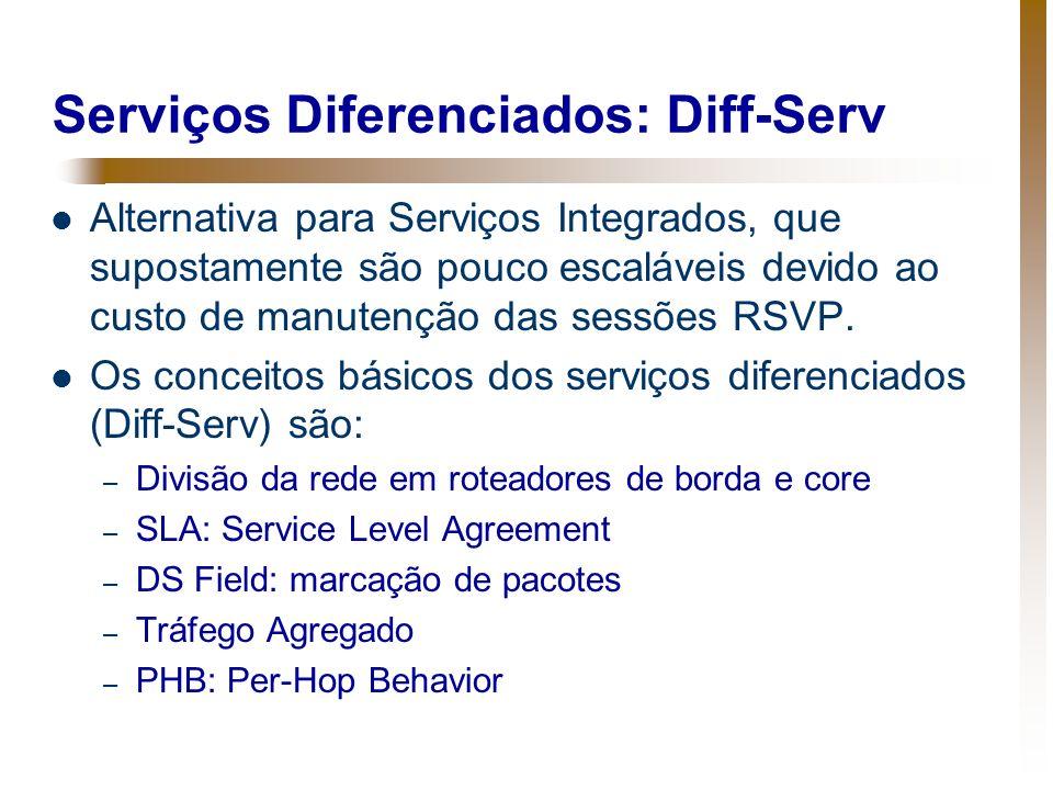 Serviços Diferenciados: Diff-Serv Alternativa para Serviços Integrados, que supostamente são pouco escaláveis devido ao custo de manutenção das sessõe