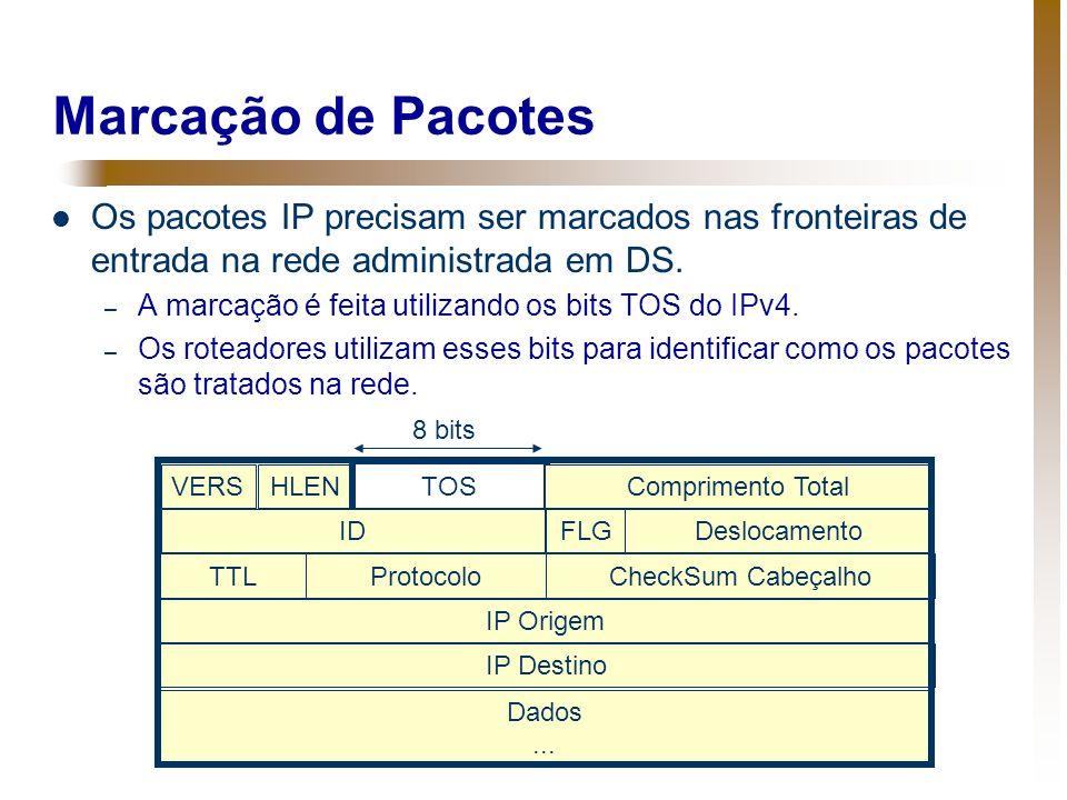 Marcação de Pacotes Os pacotes IP precisam ser marcados nas fronteiras de entrada na rede administrada em DS. – A marcação é feita utilizando os bits