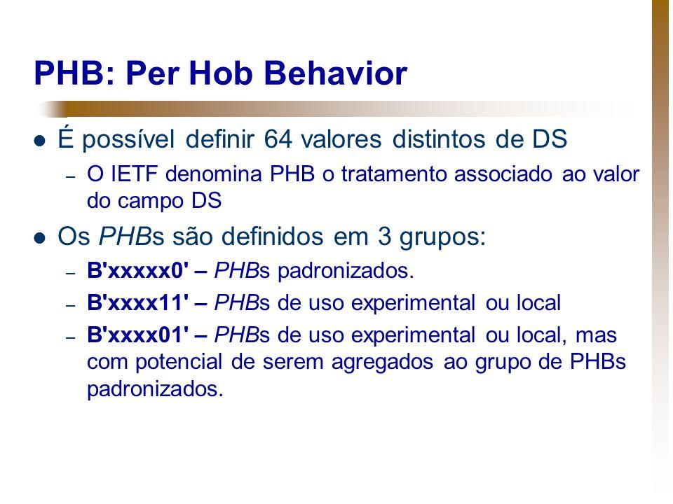 PHB: Per Hob Behavior É possível definir 64 valores distintos de DS – O IETF denomina PHB o tratamento associado ao valor do campo DS Os PHBs são defi