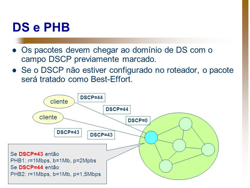 DS e PHB Os pacotes devem chegar ao domínio de DS com o campo DSCP previamente marcado. Se o DSCP não estiver configurado no roteador, o pacote será t