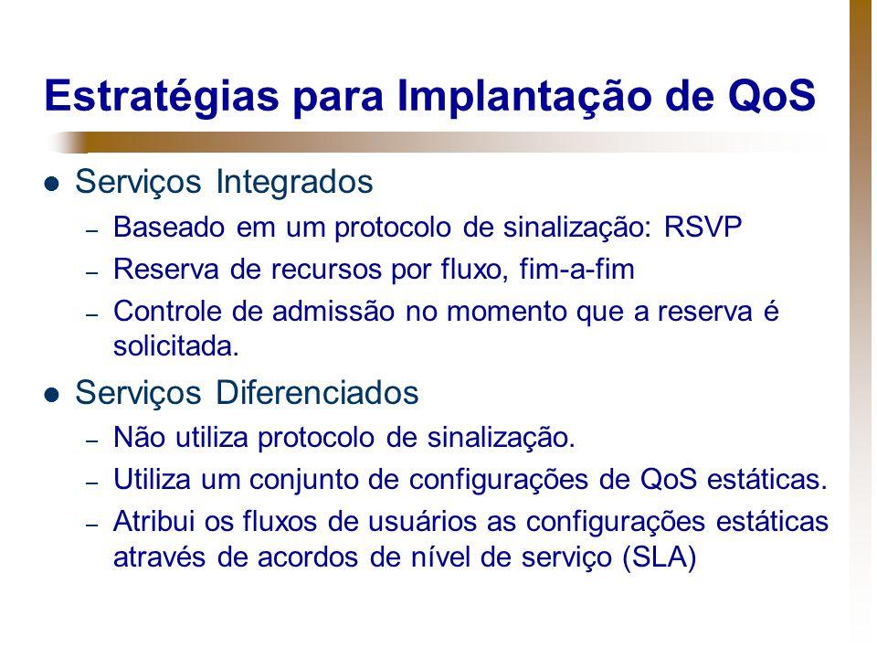 Estratégias para Implantação de QoS Serviços Integrados – Baseado em um protocolo de sinalização: RSVP – Reserva de recursos por fluxo, fim-a-fim – Co