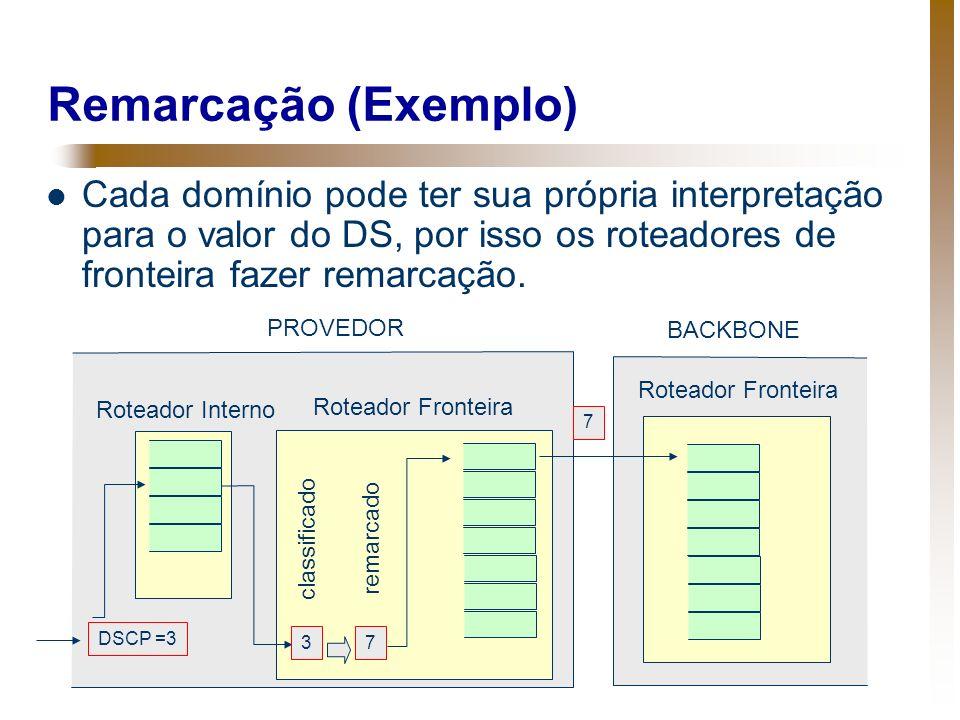 Remarcação (Exemplo) Cada domínio pode ter sua própria interpretação para o valor do DS, por isso os roteadores de fronteira fazer remarcação. DSCP =3