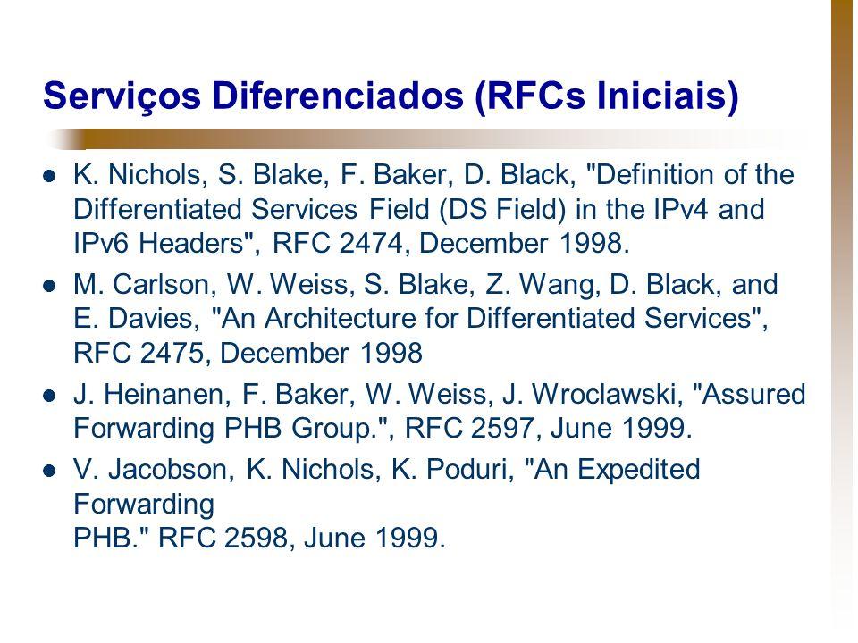 Serviços Diferenciados (RFCs Iniciais) K. Nichols, S. Blake, F. Baker, D. Black,
