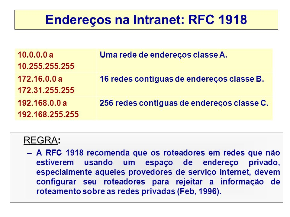 2001, Edgard Jamhour Motivação – Falta de IPs e Segurança Desperdício de IPs: –MIT tem 16,843,008. –USC tem 16,911,360. –General Electric tem 17,206,5