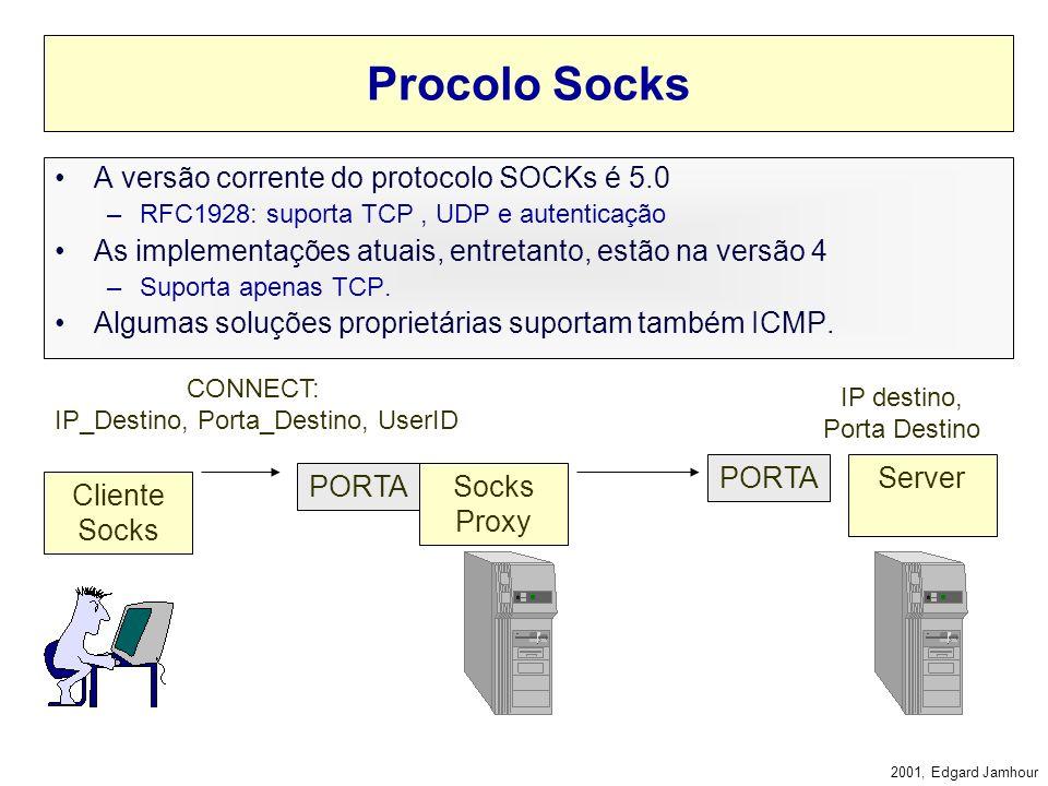 2001, Edgard Jamhour Socks Proxy Um proxy pode ser configurado de duas maneiras: –A) Em cada aplicação cliente Browser, FTP, etc. –B) No sistema opera