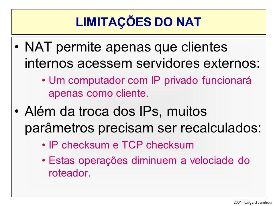 2001, Edgard Jamhour NAT: Implementado em Roteadores ou Firewalls REDE INTERNA 192.168.0.10 192.168.0.254 192.168.0.11192.168.0.12 200.17.98.24 INTERN