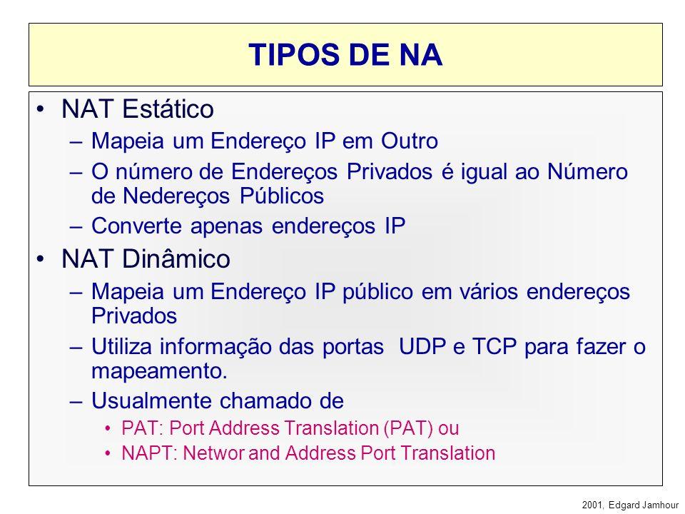 2001, Edgard Jamhour LIMITAÇÕES DO NAT O NAT não funcionará em protocolos onde o IP apareça em um campo do protocolo de aplicação se: O protocolo de a