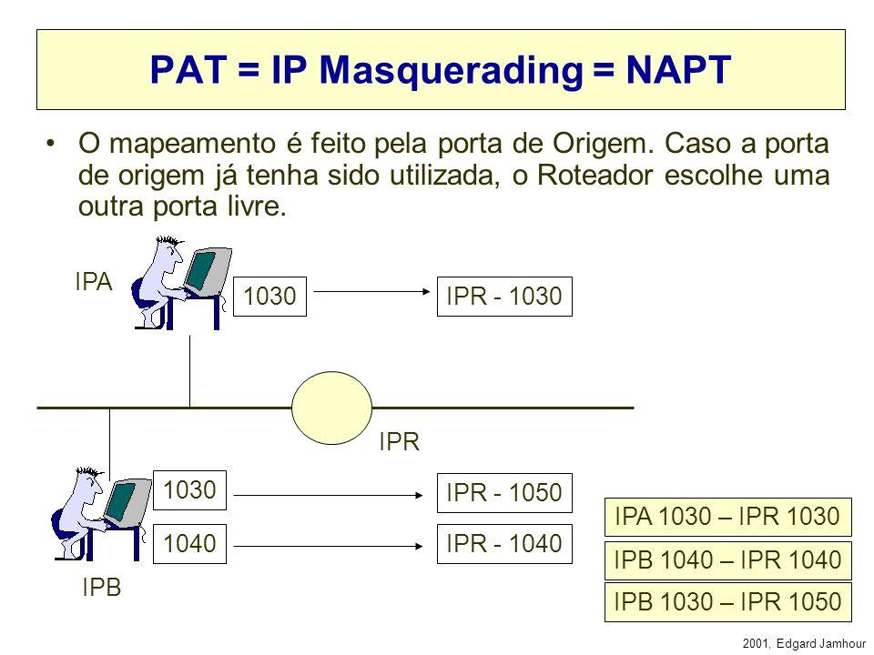 2001, Edgard Jamhour NAPT (Network Address and Port Translation) Internet 200.0.0.1 Public IP client Server 10.0.0.1 Private IP:Port 10.0.0.1:1024 10.
