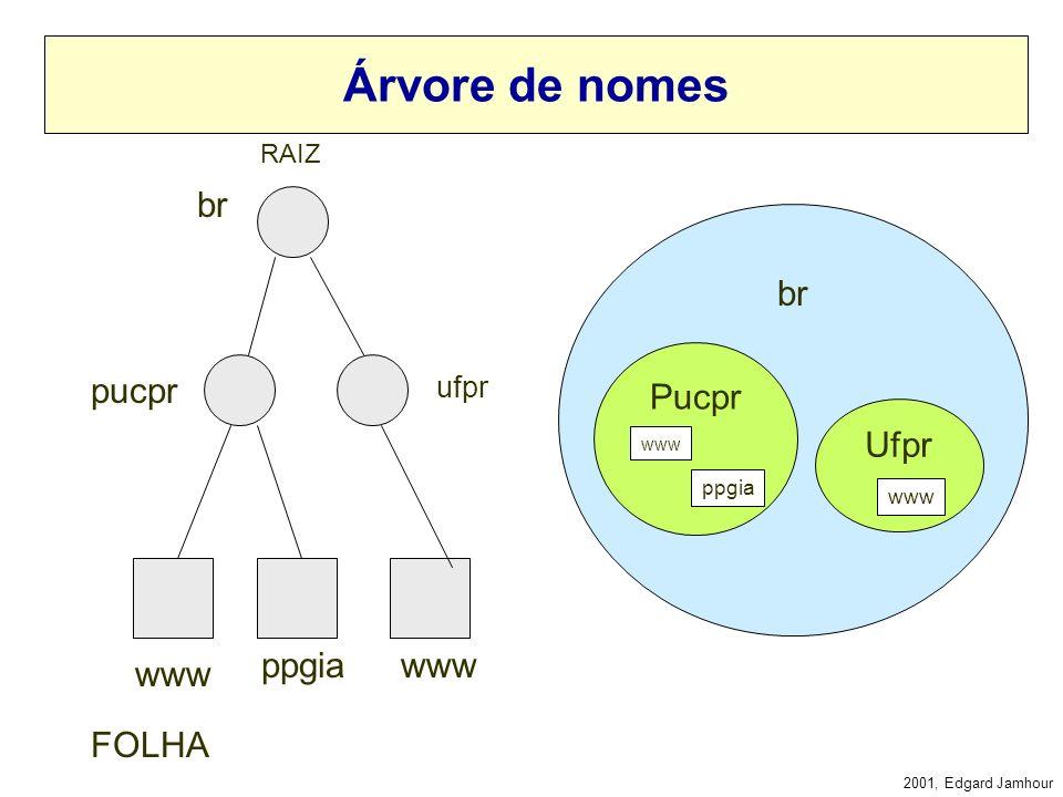 2001, Edgard Jamhour Nome de Domínio Os nomes Hierárquicos utilizados pelo DNS são chamados FQDN: –Fully Qualified Domain Name Exemplo: –www.pucpr.brw