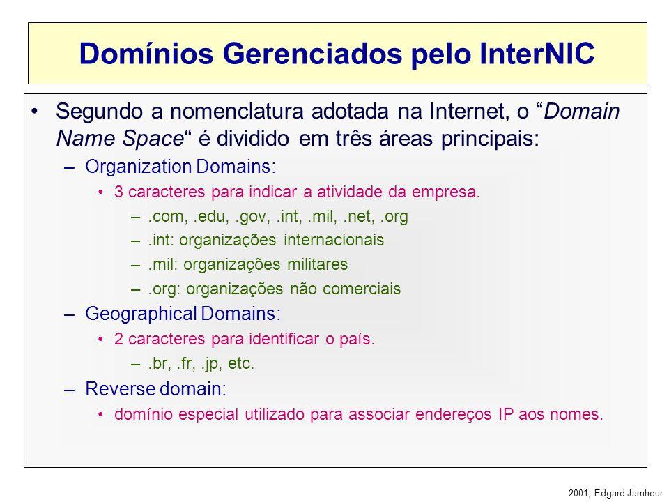 2001, Edgard Jamhour DNS e a Internet IO root da árvore de nomes da Internet é gerenciado pelo Internet Network Information Center (InterNIC) InterNIC