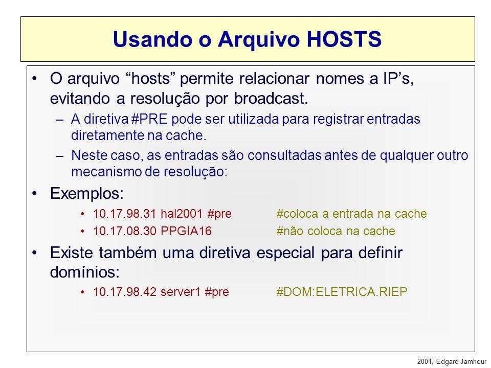 2001, Edgard Jamhour Cache com Nomes NetBIOS Cada estação mantém uma tabela com os nomes NetBIOS mais usados recentemente. C:\>nbtstat -c Endereço-Ip