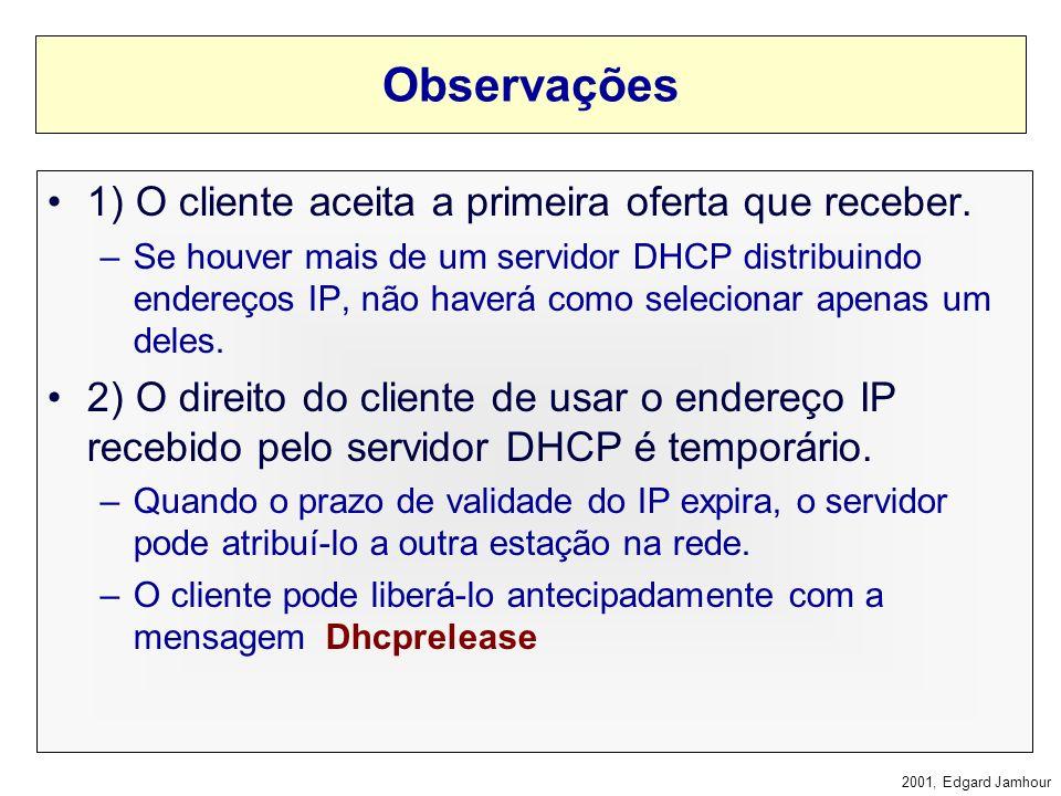 2001, Edgard Jamhour Processo de Atribuição 1) O cliente envia a mensagem Dhcpdiscover em broadcast. –O endereço IP de origem do pacote é 0.0.0.0 pois